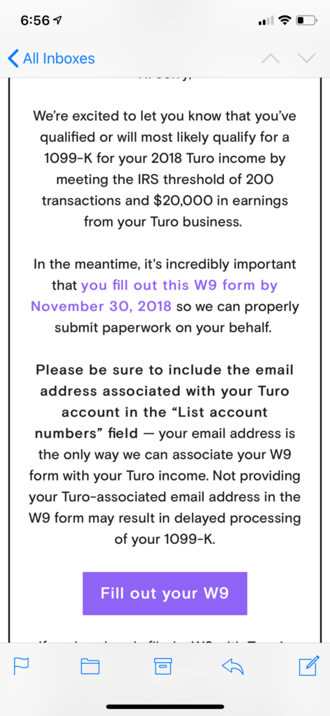 turo1099 notifying that you must declare turo taxes